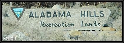 Der Eingang zu den Alabama Hills
