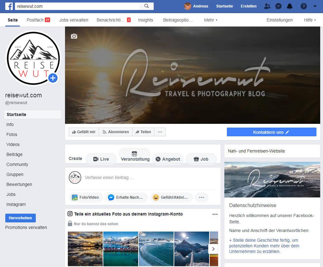 2010 ensteht irgendwann die Reisewut Fanseite auf Facebook