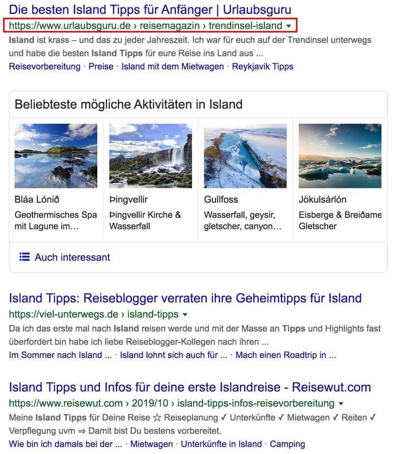 """Wenn man nach """"Island Tipps"""" sucht, findet man Urlaubsguru wieder einmal auf Platz 1 ..."""