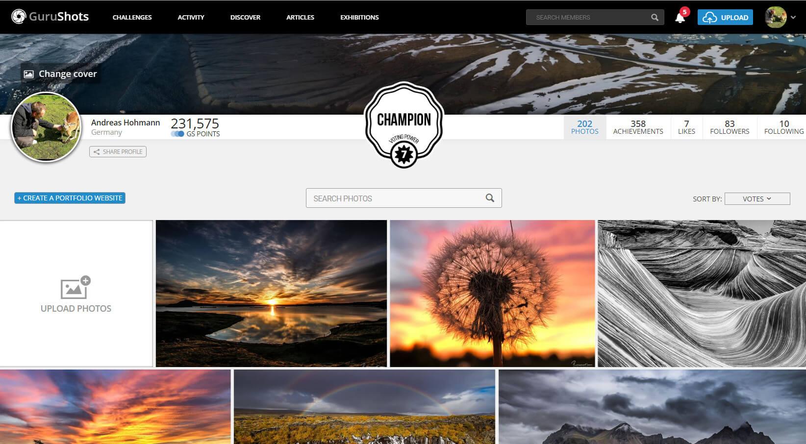 Das eigene Profil in der GuruShots Fotocommunity
