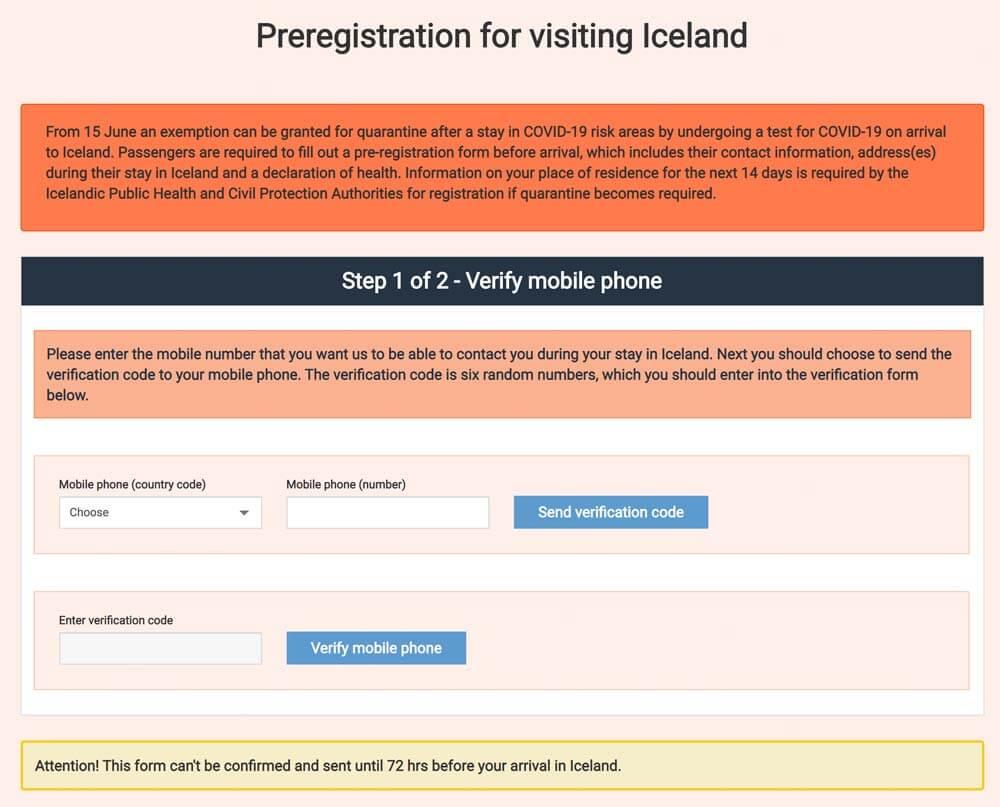 Das neue Voranmeldeformular für Islandreisende