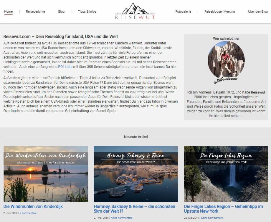 Die Landingpage von Reisewut.com im Mai 2019