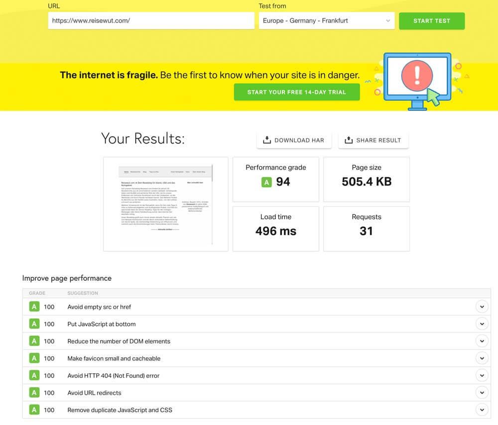 Test der Seitenperformance mit Pingdom