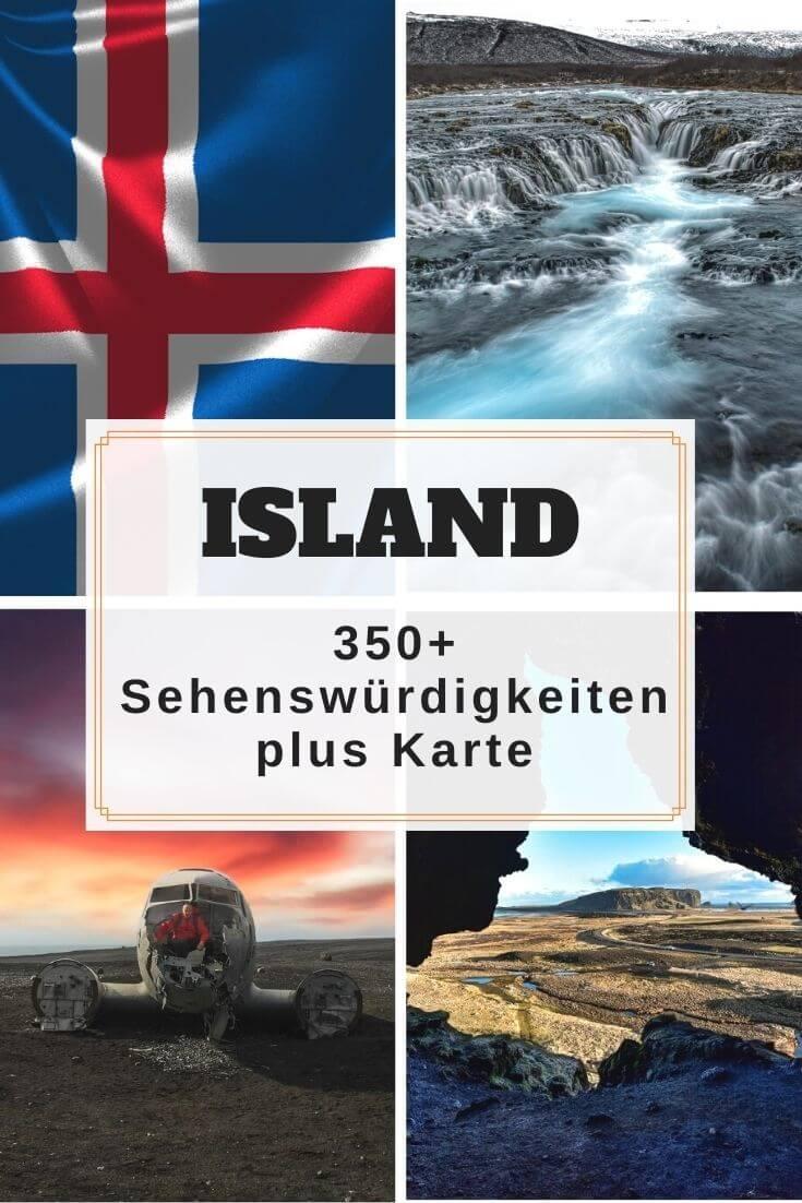 Island Karte mit über 350 Sehenswürdigkeiten - Pinterest