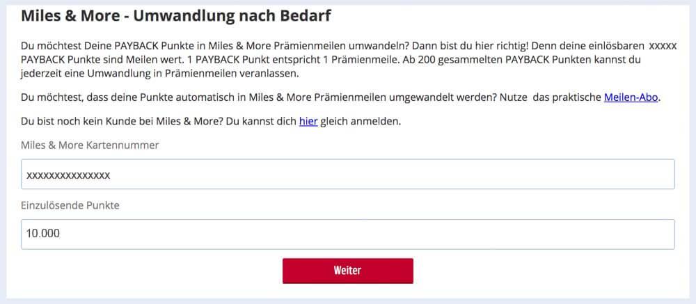 Angesammelte Paybackpunkte lassen sich 1:1 in Lufthansa Flugmeilen umwandeln