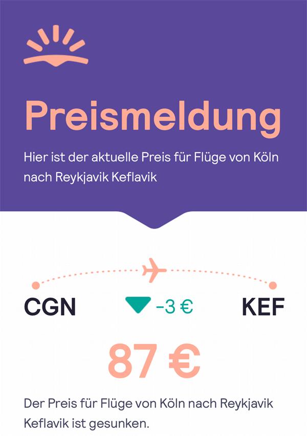 Preiswecker-Meldung via eMail von Skyscanner