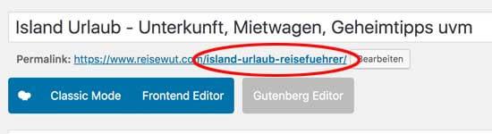Beispiel für eine saubere, möglichst kurze URL
