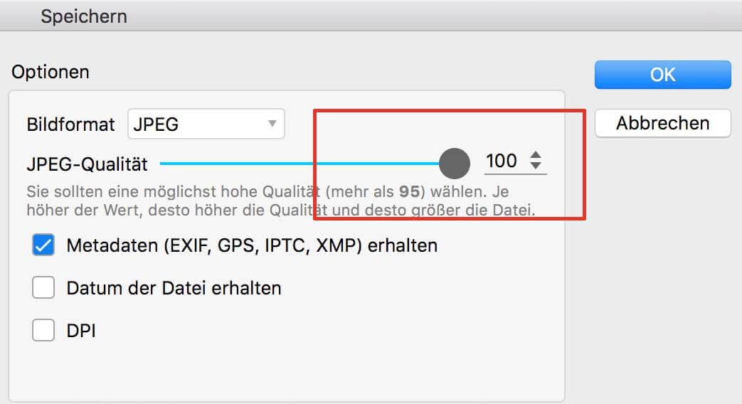 Auch bei PhotoScape lasse setze ich die JPEG-Qualität auf den maximal möglichen Wert