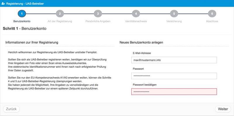 Schritt 1 Registrierung EU-Drohnenverordnung