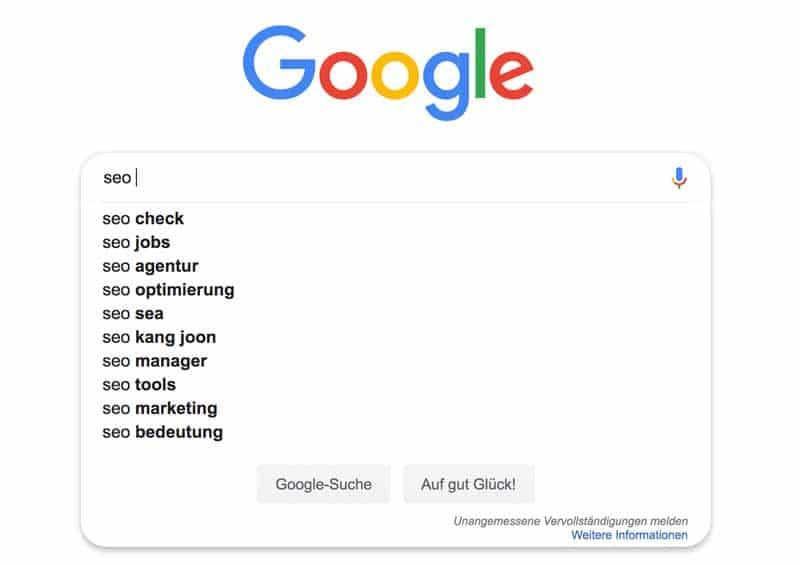 Google Suggest spuckt uns häufige Suchbegriffe aus