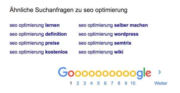 Ähnliche Suchbegriffe werden unten auf Seite 1 bei den Suchergebnissen angezeigt