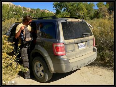 Auf geht's. Naturparkplatz am Trail zum Yellow Rock