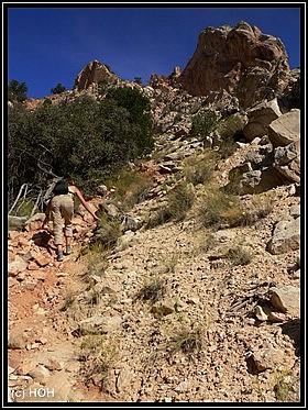 Der steile Aufstieg zum Yellow Rock hat es in sich