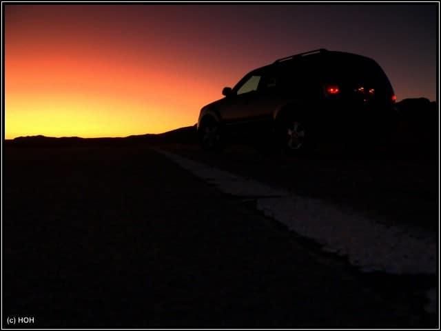 Dem Sonnenaufgang entgegen ... Valley of fire - wir kommen !!