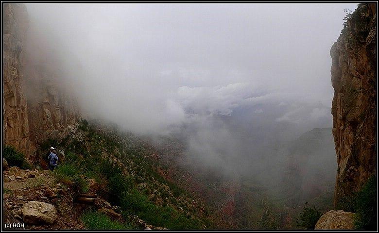 Der nebelverhangene Bright Angel Trail