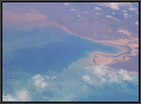 Das Ningaloo Reef aus knapp 10000m Hoehe