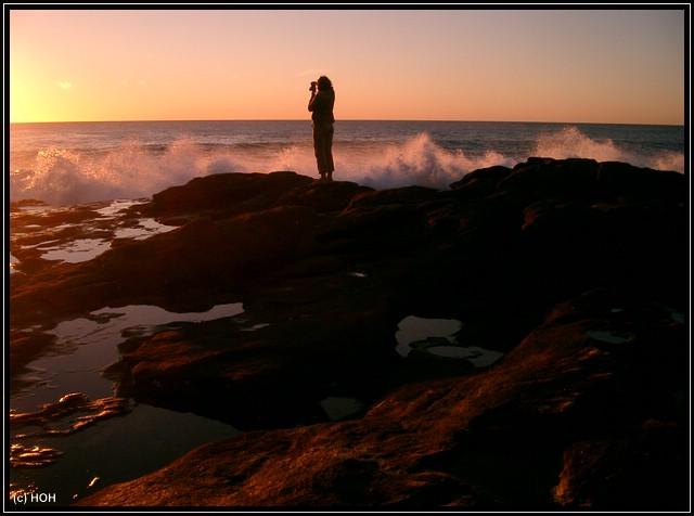 Frauchen beim Sunset-Shooting