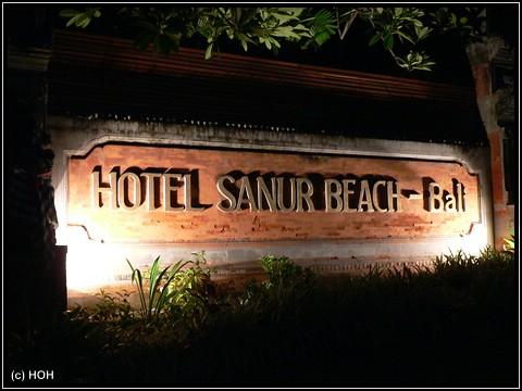 Eingangsschild Hotel Prama Sanur Beach