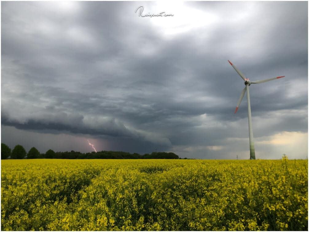 Ein Rapsfeld, ein Windrad, dunkle Wolken und ein Blitz ... fertig ist das Fotomotiv