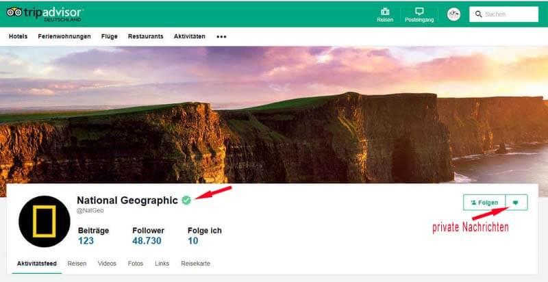 Der ominöse grüne Haken bei TripAdvisor, hier am Beispiel von National Geographic