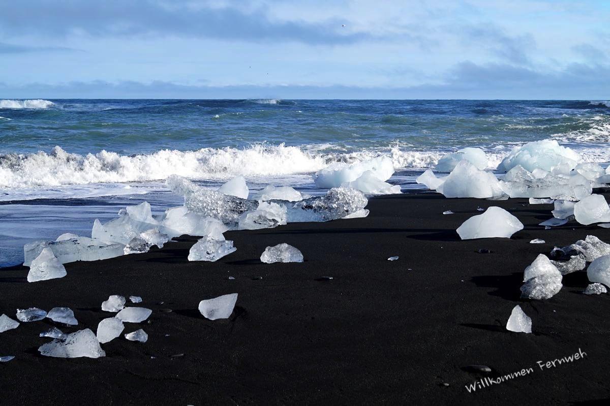Einmalig in dieser Form auf dem Planeten, der Diamond Beach beim Jökulsarlon