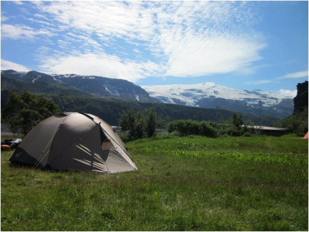 Campen in Þórsmörk bei perfekten Bedingungen