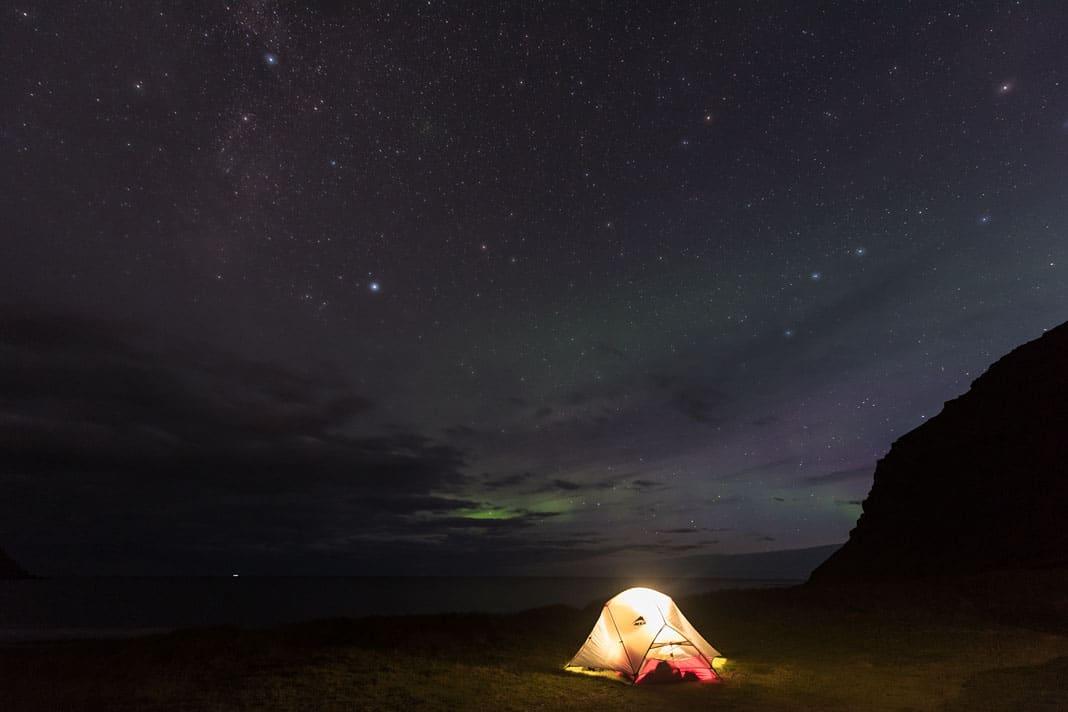 Zelten unterm Sternenhimmel ist in Island nichts für Weicheier, das Wetter kann unbarmherzig sein
