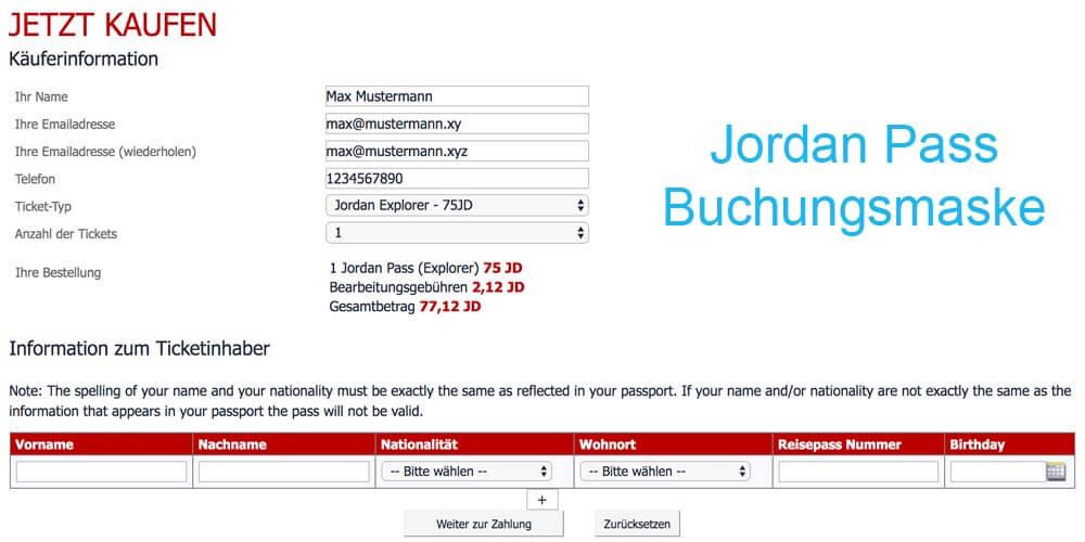 Buchungsmaske auf der offiziellen Seite um den Jordan Pass zu beantragen
