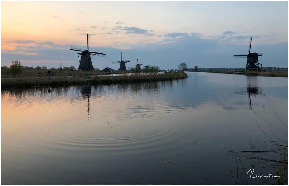 Rechts im Bild erkennt man De Blokker, die einzige Köcherwindmühle in Kinderdijk