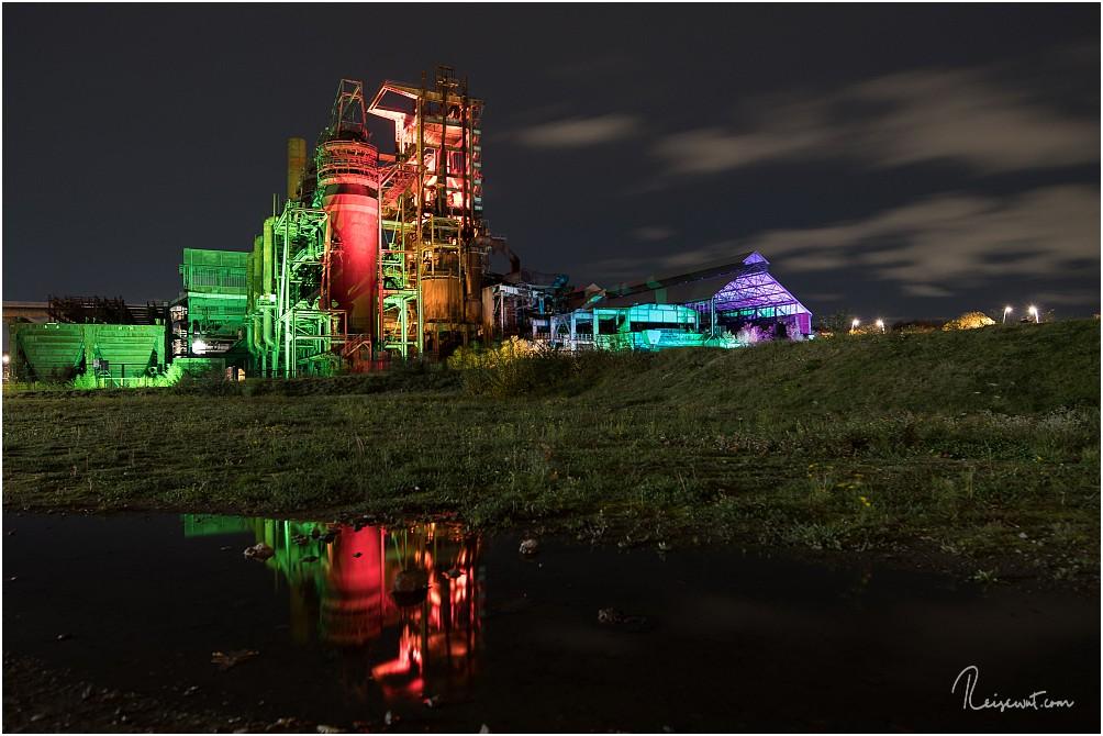 Das ehemalige Hochofenwerk Phoenix-West, hier an einem Event illuminiert