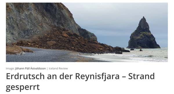 Erdrutsch an der Reynisfjara