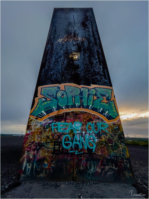 Die Bramme scheint ein beliebter Punkt sein um sich per Graffiti zu verewigen