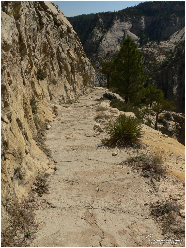 Der Trail schlängelt sich an der Felswand entlang