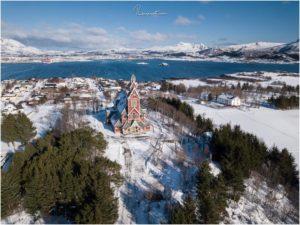 Buksnes Kirche Aerial