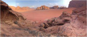 Blick vom Hügel hinter dem Wadi Rum Nomads Base Camp