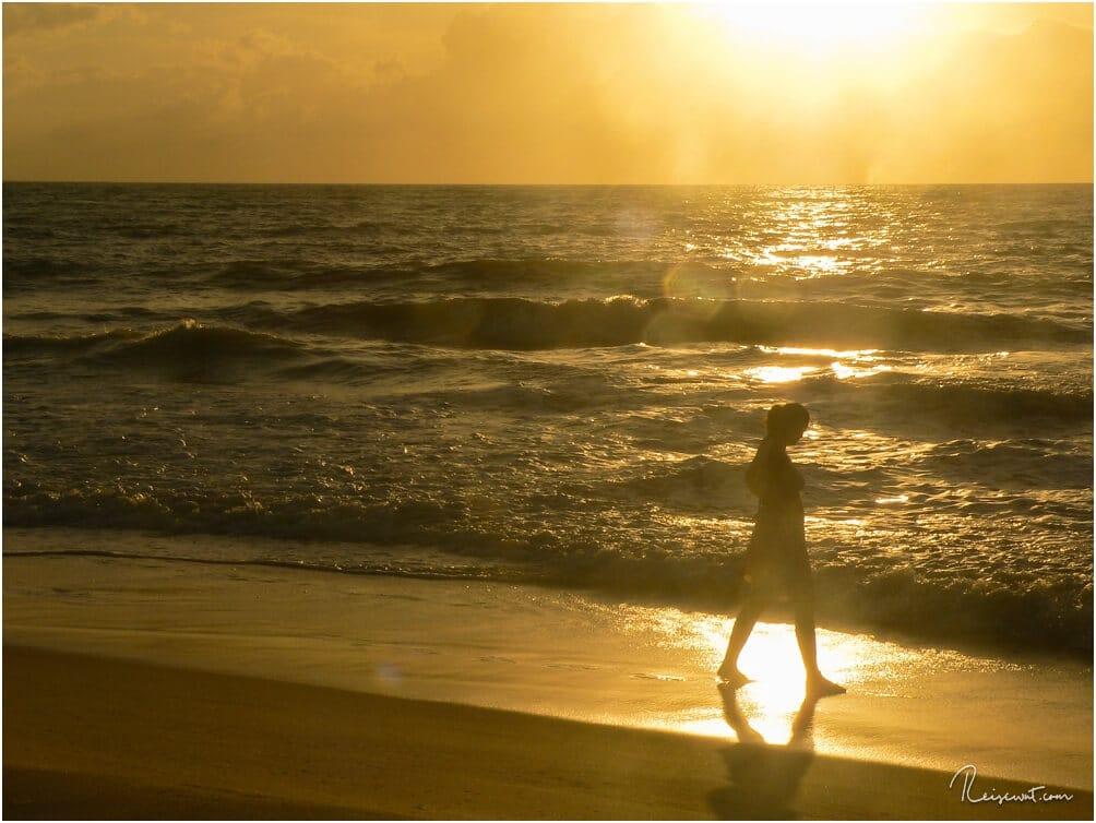 Frauchen genießt die ersten Minuten nach dem Sonnenaufgang