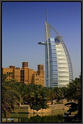 Burj Al Arab vom Madinat aus gesehen