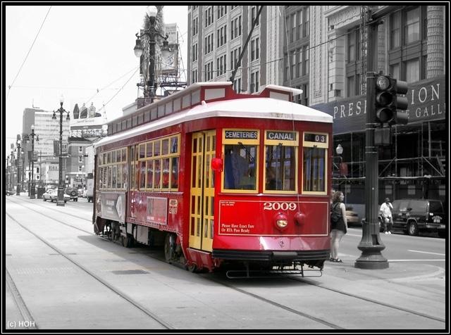 Alte Straßenbahn in der Canal Street in New Orleans