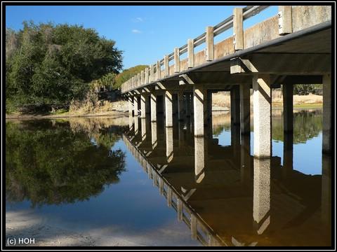 Tolle Reflexion einer der Brücken im Myakka River State Park