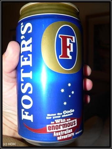 """Fosters-Bierdose ... auch größenmässig """"enormous"""" ..."""