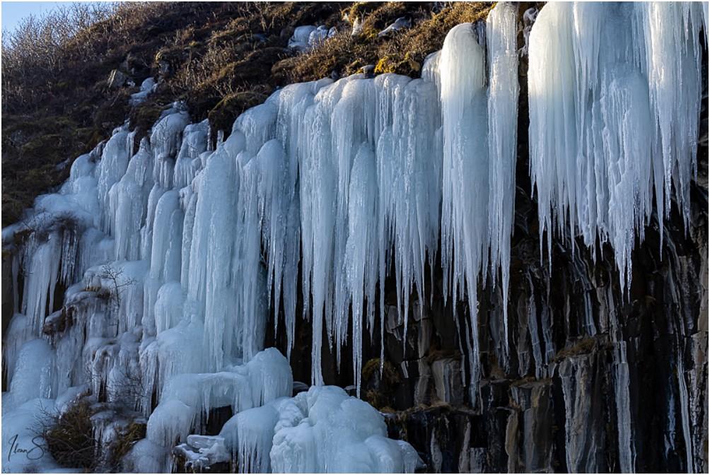 Die Eiszapfen aus der Nähe