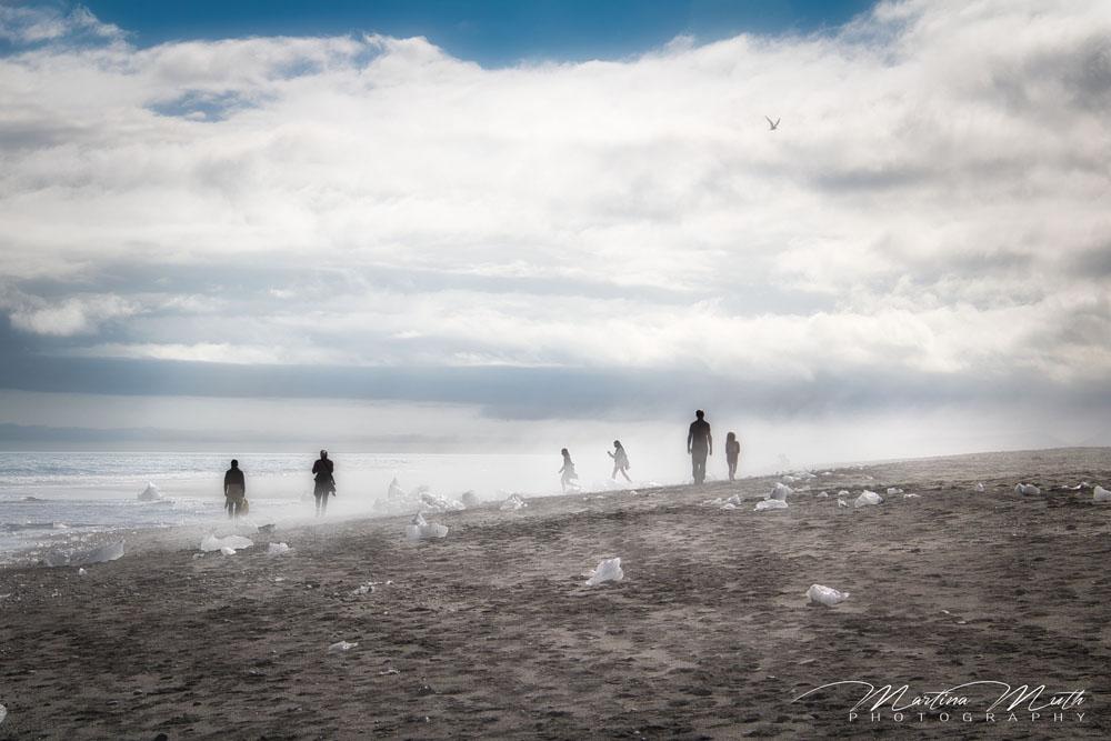 Stimmung am Diamond Beach, wo dieses Mal nicht viel Eis angeschwemmt gewesen ist