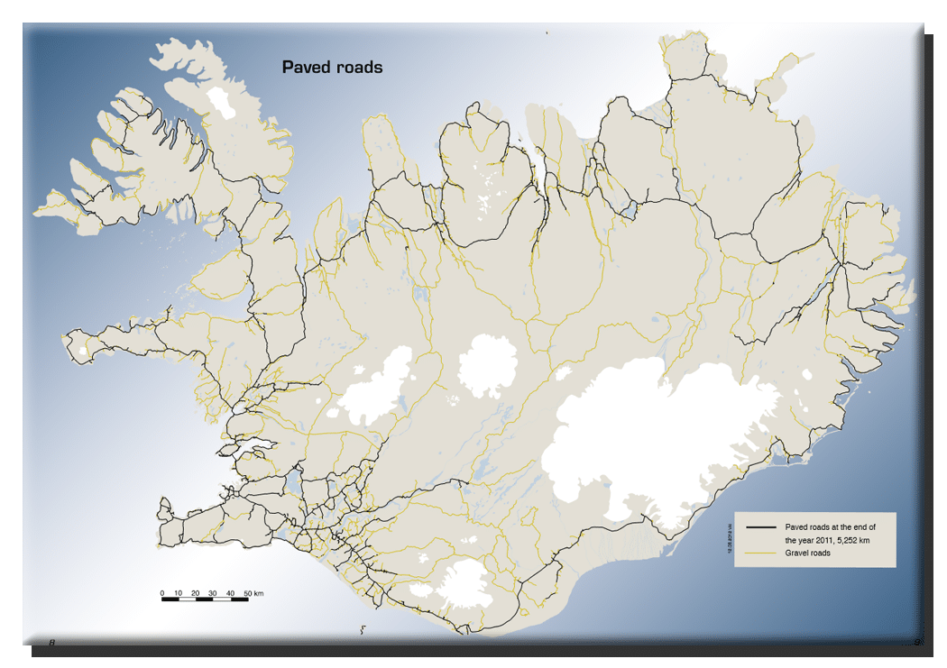 Geteerte Straßen in Island