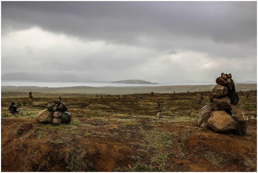 Steinmaennchen Nähe Thingvellir und ein schlagartiger Wetterwechsel