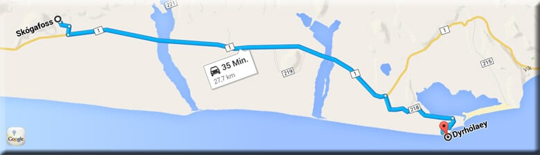 Fahrtstrecke vom Skogafoss nach Dyrhólaey