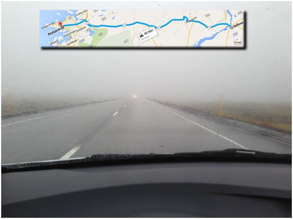 Unterwegs nach Selfoss. Wie man sieht, sieht man nichts