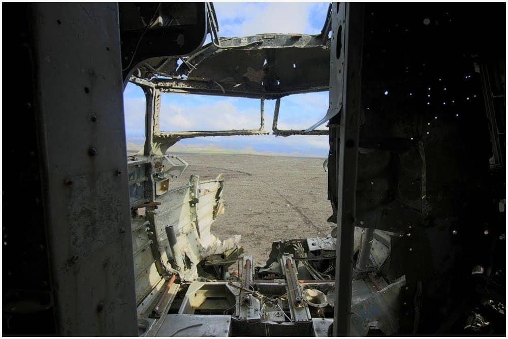 Die ehemalige Pilotenkabine, auch hier wurde so gut wie alles ausgeschlachtet
