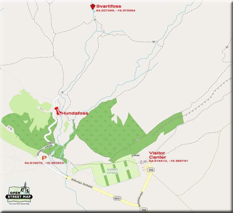 Svartifoss Karte