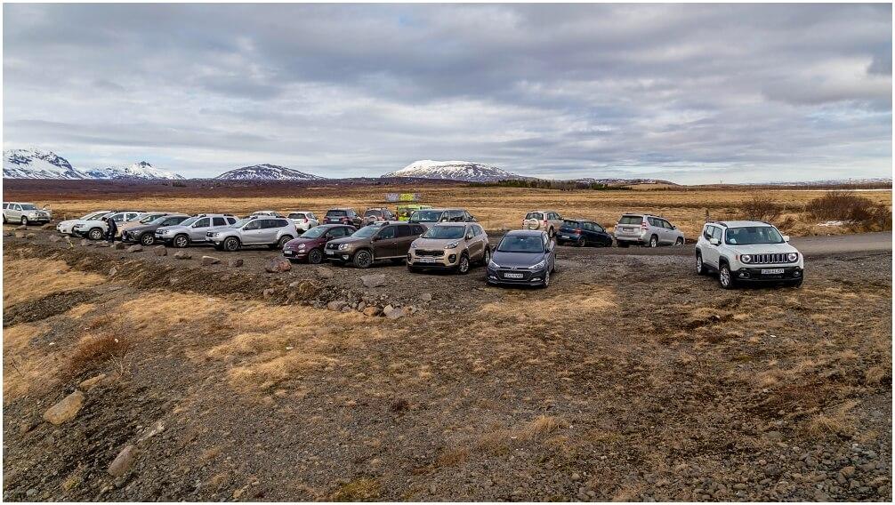 Der neu angelegte Parkplatz zum Bruarfoss