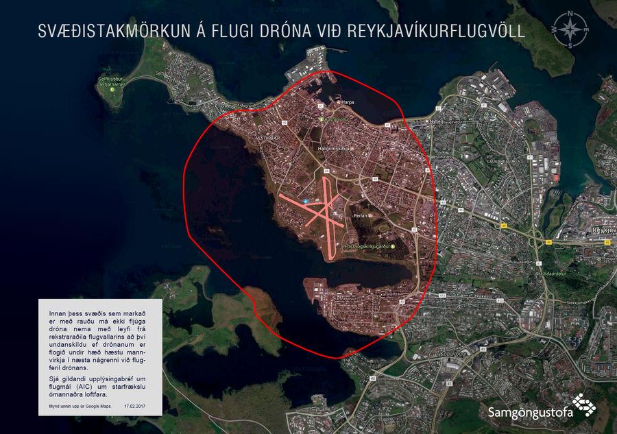 Flugverbotszone in Reykjavik
